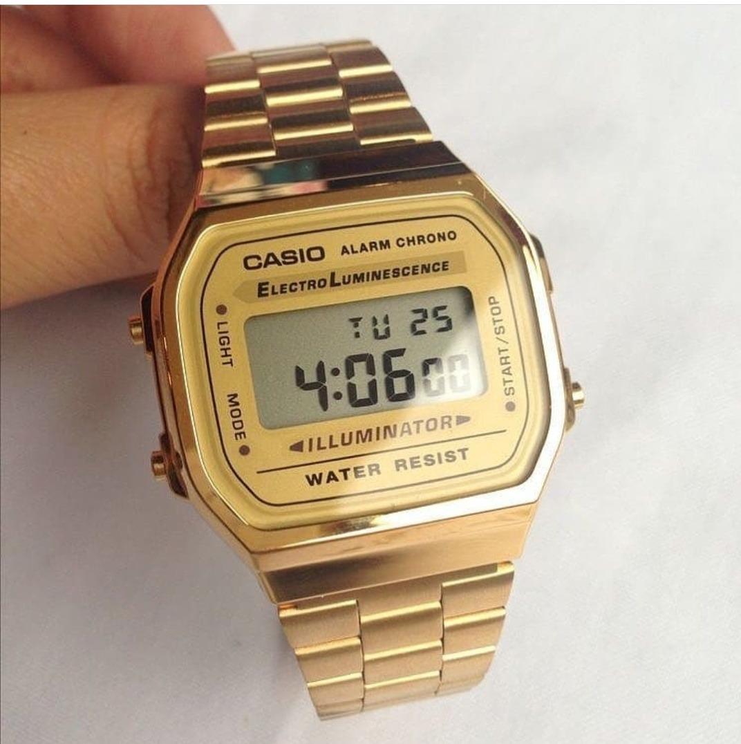 637c09c5560 Relógio Casio Moda Vintage Feminino Unissex Dourado A168wg - R  145 ...