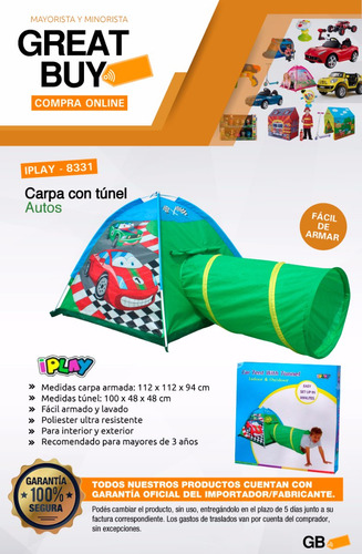 casita carpa auto cars infantil nene iglu iplay - 8331