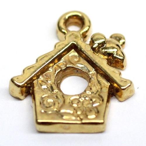 casita con cadena de ancla en chapa de oro 22 k