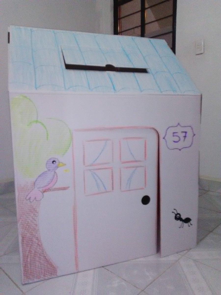Casita de juguete para ni os de cart n para decorar - Casita con tobogan para ninos ...