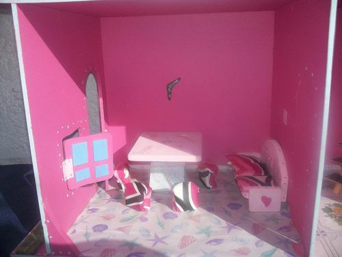 casita de muñeca madera infantil,c/mobiliario o sin escala