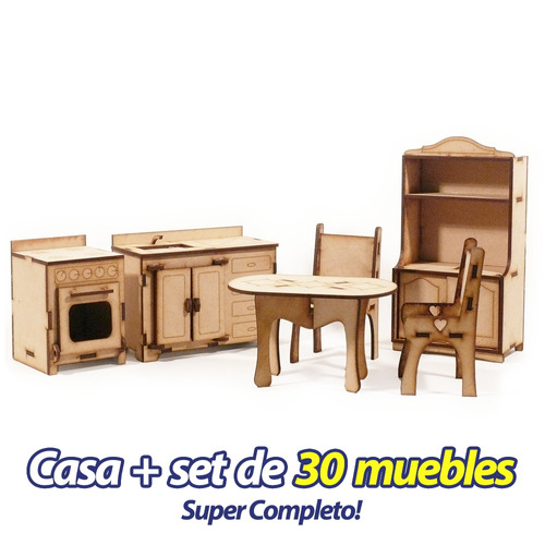 casita de muñecas + 30 muebles casa m3 fibrofacil completa !