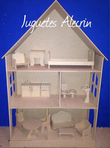 casita de muñecas barbie con 11 muebles regalo p/ nena nene