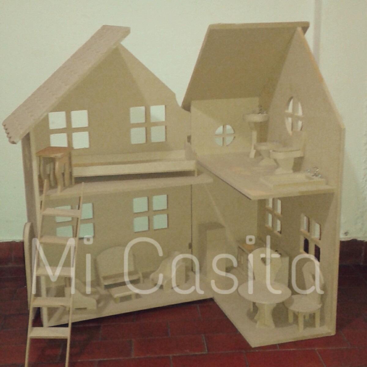 Casita De Mu Ecas Barbie Con Muebles Fibrofacil Para Pintar  # Muebles Fibrofacil Para Casa Munecas