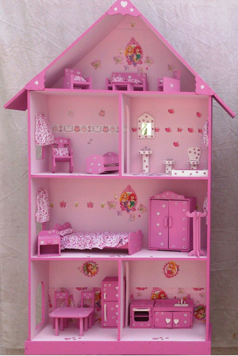 casita de muñecas, barbie, pintada y decorada con muebles
