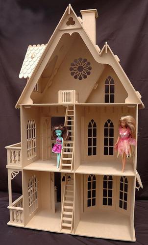 casita de muñecas barbie - totalmente amueblada - grande
