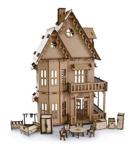 casita de muñecas fibrofacil + 25 muebles envio gratis !!