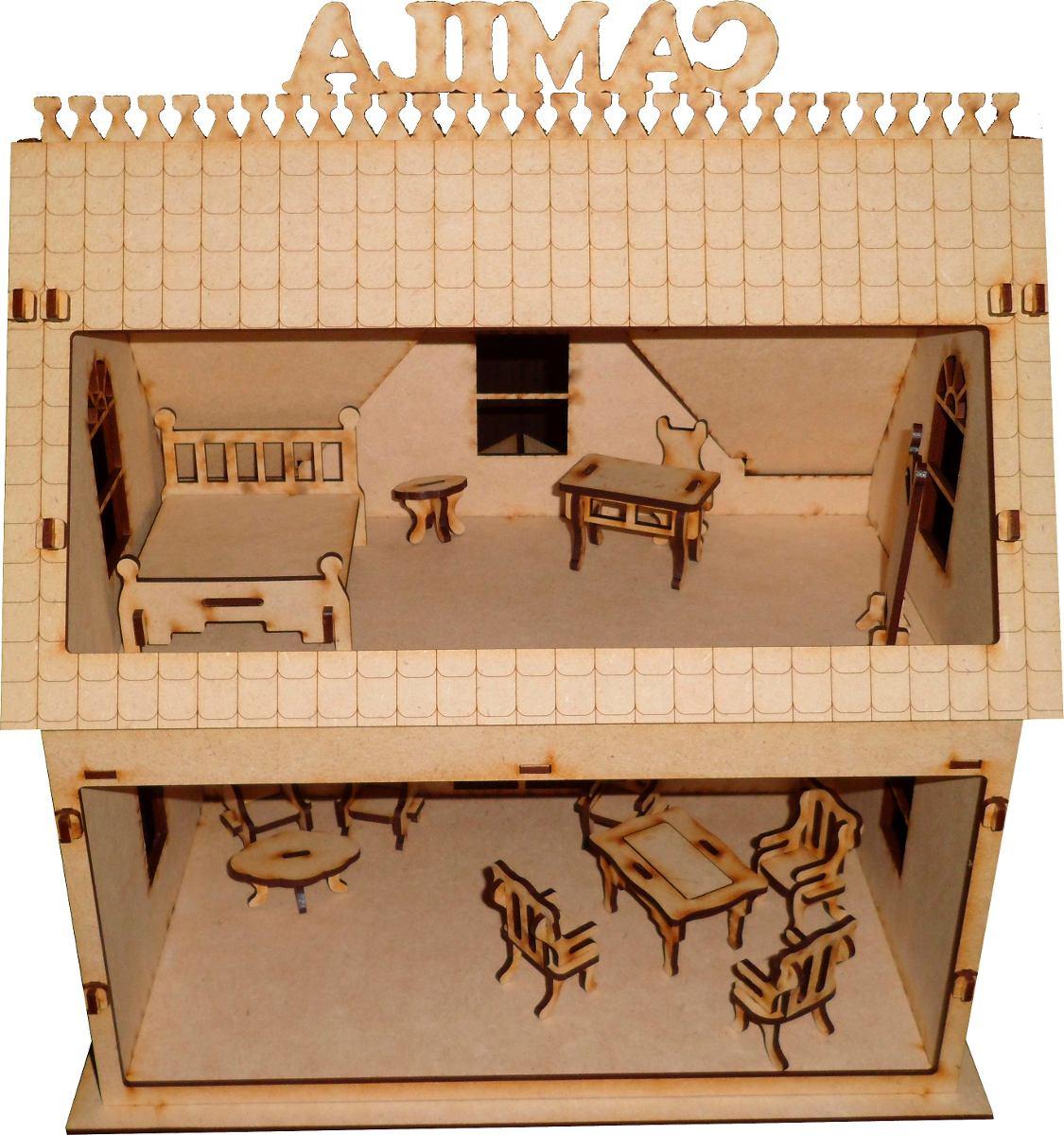 Casita De Mu Ecas Fibrofacil Con 13 Muebles 500 00 En Mercado  # Muebles Cuento De Hadas