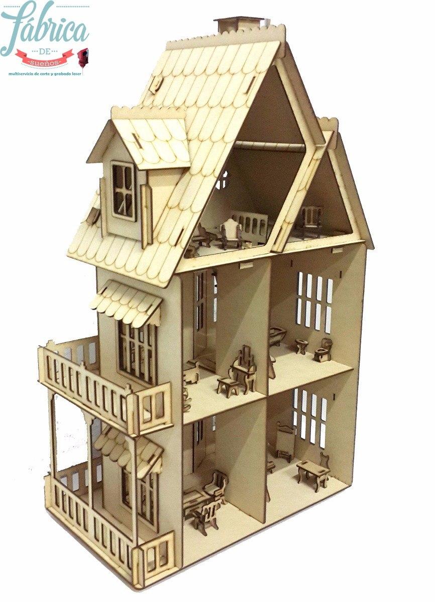 Casita De Muñecas Fibrofacil Con 23 Muebles Casa Gotica - $ 950,00 ...