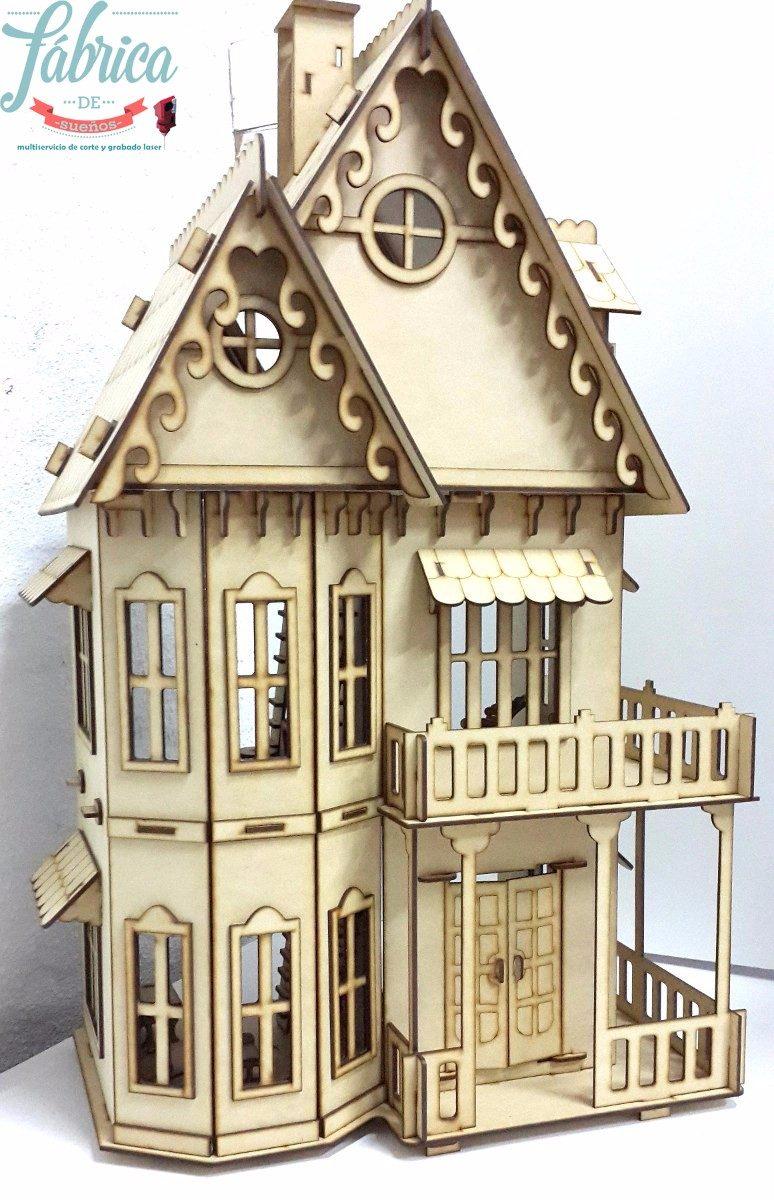 Casita De Mu Ecas Fibrofacil Con 23 Muebles Casa Gotica 950 00  # Muebles Fibrofacil Para Casa Munecas