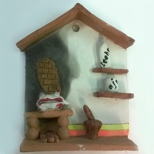 casita en arcilla, adorno, fachada, decoración, artesania