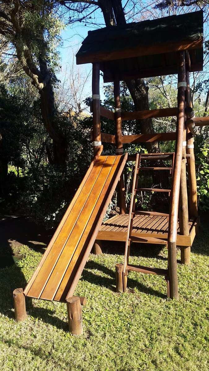 Casita en madera juegos de ni os mangrullo hamacas tobogan - Casita con tobogan para ninos ...