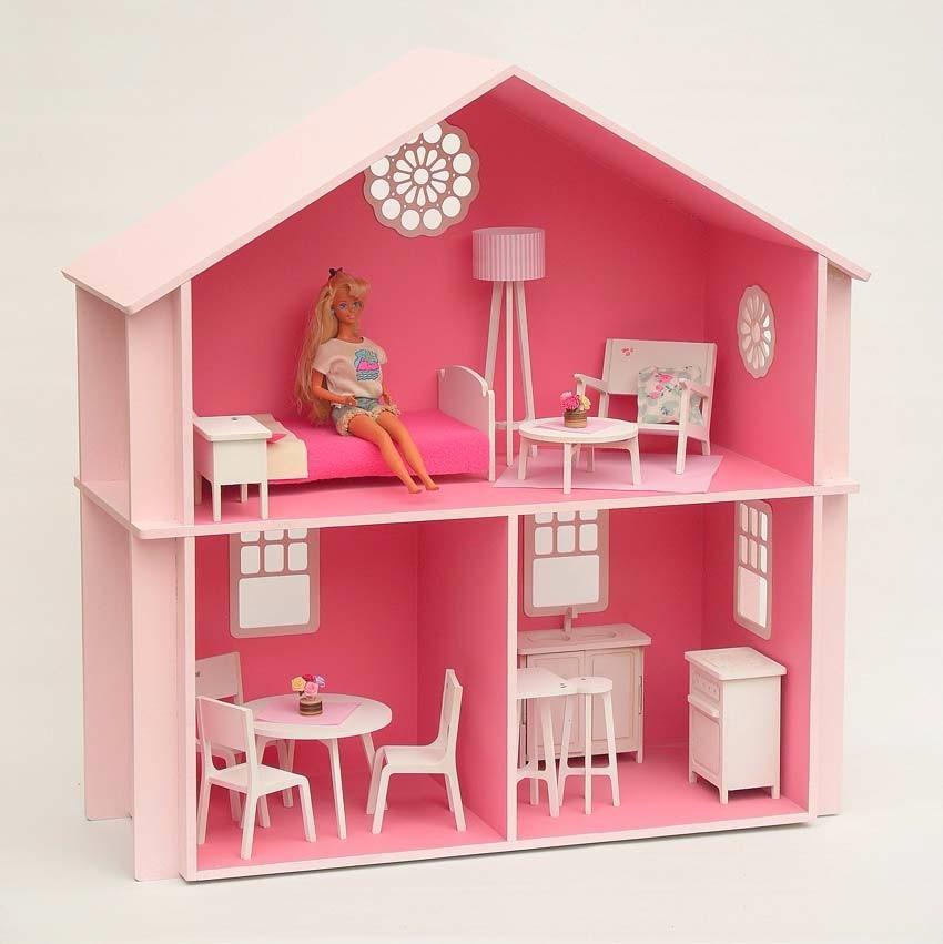 Casita Muñecas Barbie, Pintada, Con Muebles !! - $ 2.950,00 en ...
