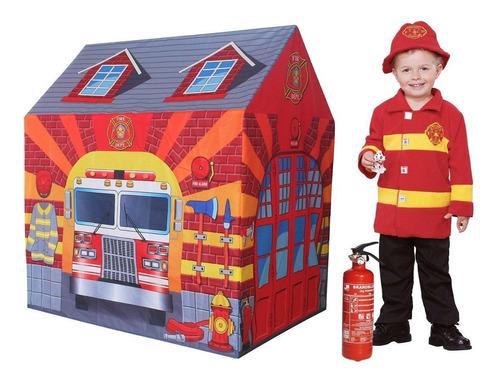 casita para chicos bombero juego plegable carpa  pelotero