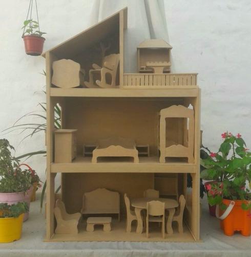 casita para muñecas barbie en madera + 11 juegos de muebles