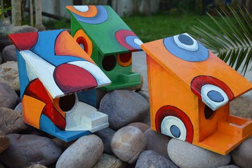 casitas de pasjaros con comedero variedad de colores