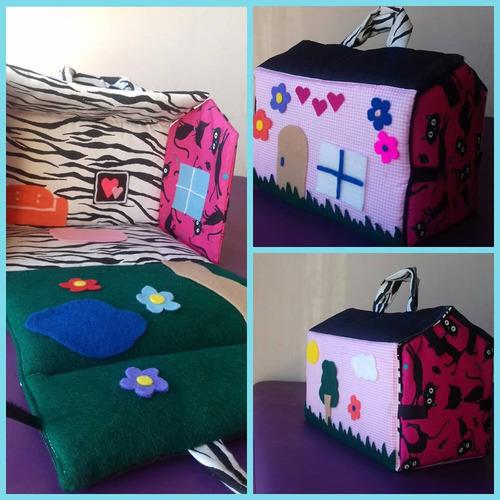 casitas/ valijas de muñecas de tela