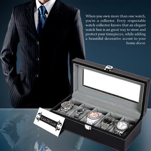 caso caja de reloj organizador almohada - 6slot premium luxu