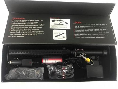 cassetete c/ lanterna recarregavel vigia noturno e segurança