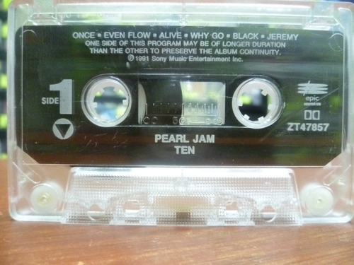 cassette americano pearl jam ten (top music) nirvana alice