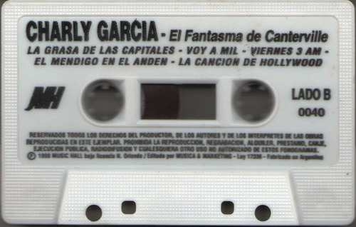 cassette charly garcía, el fantasma de canterville.