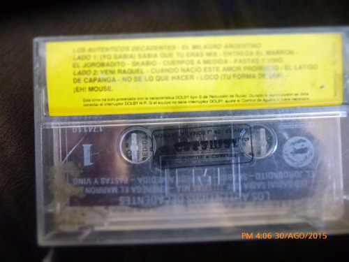 cassette de los autenticos  decadentes milagro argenti(222