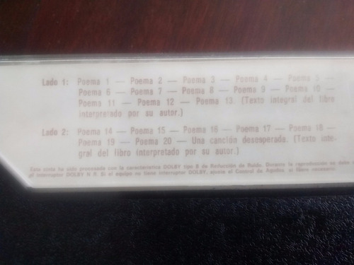 cassette de pablo neruda 20 poemas de amor (c-231
