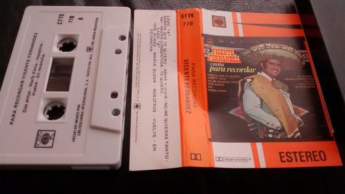 cassette de vicente fernandez  canta para recordar (236