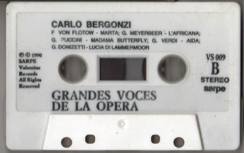 cassette opera, carlo bergonzi