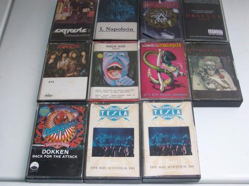 cassettes heavy metal y hard rock - dokken,tesla, slash, etc