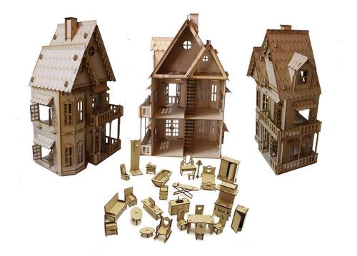 castelo boneca polly +27 mini móveis portas e janelas abrem