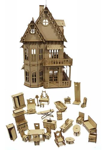 castelo casa casinha boneca poly + móveis parc. sem juros