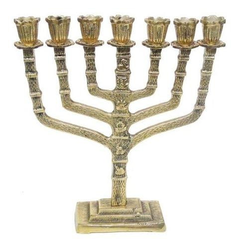 castiçal 7 velas  menorah 28 cm bronze decoração presentes