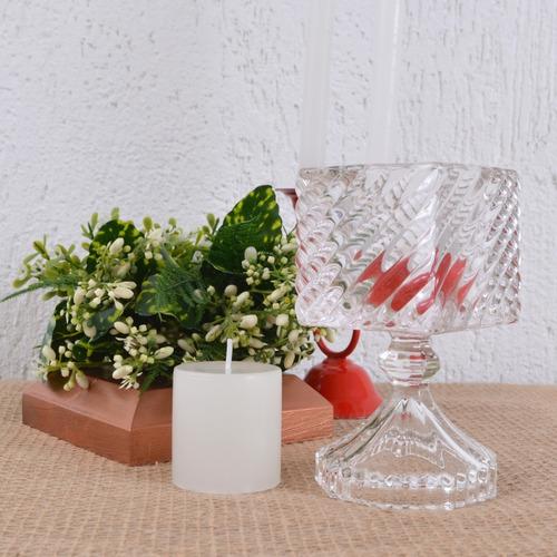 castiçal alto quadrado porta vela rechaud vidro ondulado