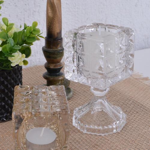 castiçal alto quadrado porta vela rechaud vidro quadriculado