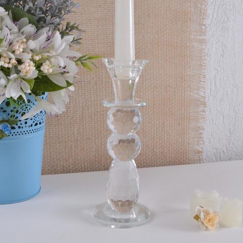 castiçal alto vidro cristal incolor altura 20cm