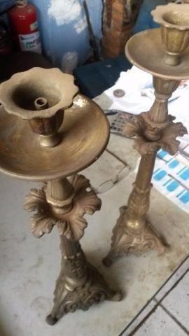 castiçal antigo de bronze
