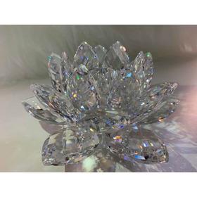 Castiçal Flor De Lótus Cristal Swarovski, Decoração De Luxo