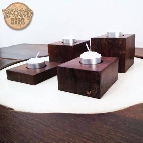 castiçal ou suporte para velas feito em madeira dedemolição