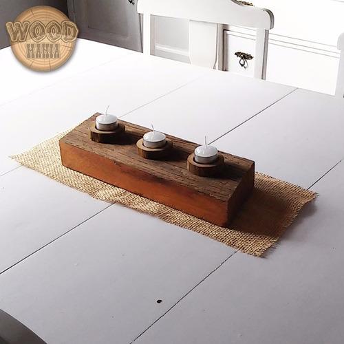 castiçal para velas aromáticas vigota de madeira dedemolição