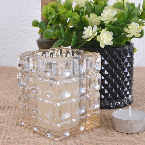 castiçal porta-vela quadrado vidro perolado altura 8,0cm