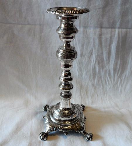 castiçal prata brasileira 10 dinheiros - mede 22,5cm