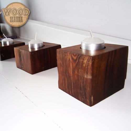 castiçal velas madeira