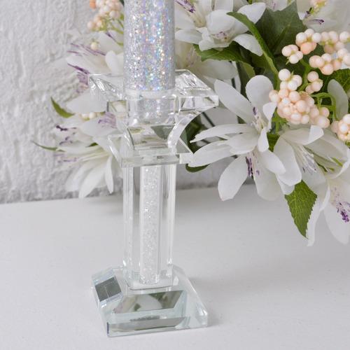 castiçal vidro base quadrada haste decorada cristais