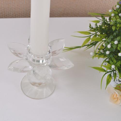 castiçal vidro incolor formato flor estilizada altura 8,5cm