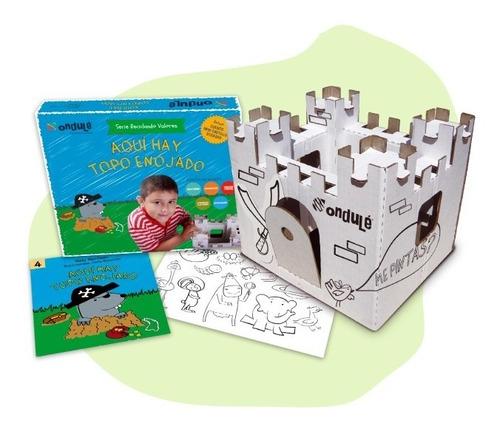 castillo de cartón reciclado para armar y pintar