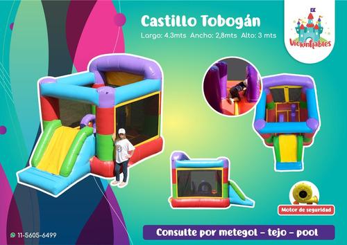 castillo inflable con tobogan pelotero