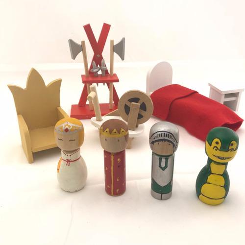 castillo medival fuerte + personajes + muebles casa muñecas