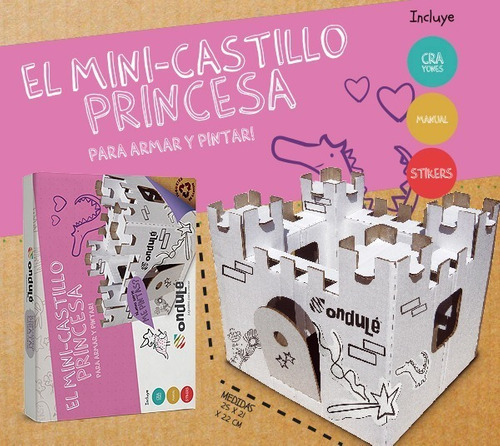 castillo para pintar + stickers de princesa + colores