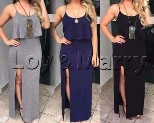 0cc99e7fba casuais roupas vestidos longos · vestidos longos casuais c  fenda roupas  femininas s renda
